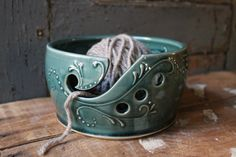 Hey, I found this really awesome Etsy listing at https://www.etsy.com/listing/197389742/yarn-bowl-crochet-knitting-teal-green-in