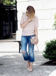 SIMPLE WAYS TO WEAR SUMMER METALLICS SIMPLE WAYS TO WEAR SUMMER METALLICS sequin top Next, ripped denim, metallic satchel, casual summer look