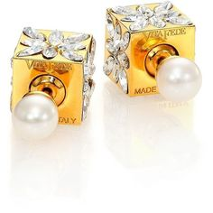 Vita Fede Double Cubo 5MM White Akoya Pearl & Crystal Marquis... ($800) ❤ liked on Polyvore featuring jewelry, earrings, apparel & accessories, gold, crystal earrings, 24 karat gold jewelry, swarovski crystal jewellery, two sided earrings and round earrings