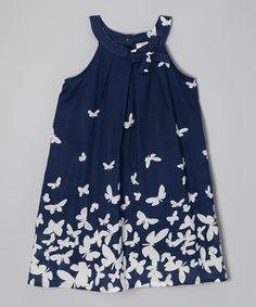 Navy & White Butterfly Yoke Dress - Toddler & Girls