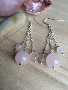 Pink Rose Quartz Earrings With Hearts And Chain by MadeByMissM