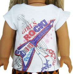 "MARKDOWN! Rock'n Roll Guitar Glitter T-Shirt for 18"" American Girl Doll Clothes #Unbranded"