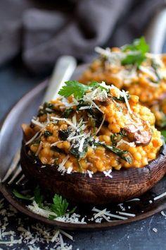 Barley Risotto Stuffed Portobello Mushrooms | From A Chef's Kitchen