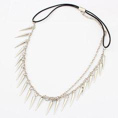 Chain Headband, Zinc Alloy, with nylon elastic cord