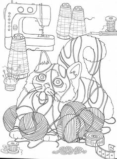 Dog Coloring Page, Colouring Pages, Coloring Sheets, Adult Coloring, Coloring Books, Cat Colors, Pretty Cats, Line Drawing, Needlework