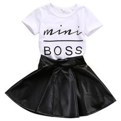 Cheap outfit set, Buy Quality baby girl clothes summer directly from China baby outfit set Suppliers: Baby Set Toddler Kids Baby Girls Clothes Summer Short Sleeve Mini Boss T-shirt+Black Mini Skirts Baby Outfits Set Girls Fashion Clothes, Kids Outfits Girls, Toddler Girl Outfits, Baby Girl Fashion, Toddler Fashion, Fashion Kids, Baby Outfits, Style Fashion, Baby Girl Clothes Summer