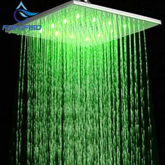 LED 10 Square Rain Shower Head Wall Ceiling Mounted Top Over-head Shower Sprayer