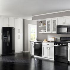 Kitchen Design Black Appliances grey cabinets - black appliances - silver hardware - full tile