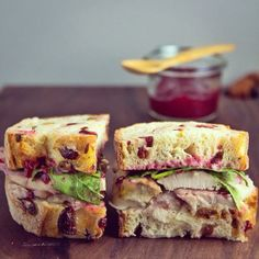turkey leftover sandwich on speckled cranberry-pistachio bread