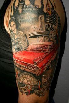 8a3aa0b9f1f8c 10 amazing examples of cars tattoos | Oddities Upper Arm Tattoos, Rockabilly  Tattoos, Retro