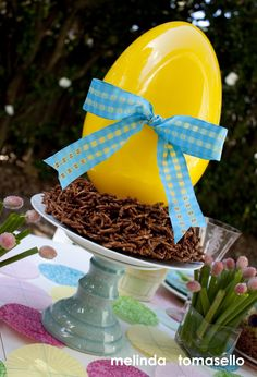 Large Egg #Centerpiece with chocolate peanut butter nest. Created for @PSMIYO Round 2 Sundry Soiree.  #easter #dessert #nest  #chocolateNest