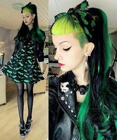 Pastel Goth Fashion / Gothic Girl / Lolita / Black Dress / Jewelry / Pastel GreenHair / Cosplay // ♥ More at: https://www.pinterest.com/lDarkWonderland/