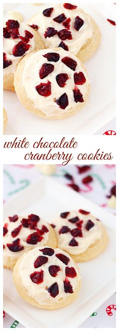 A soft and light butter cookies with white chocolate chips hidden inside them. Frosted with buttercream and sprinkled with dried cranberries to put everyone in the holiday spirit