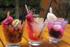 Refrescantes, capilés levam frutas, destilado e um picolé na receita