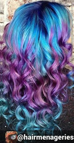 Purple blue dyed hair color