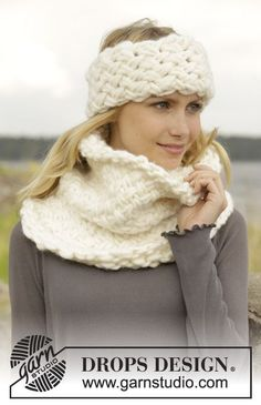"""Knitted DROPS head band and neck warmer with basket pattern in """"Polaris"""". ~ DROPS Design"""