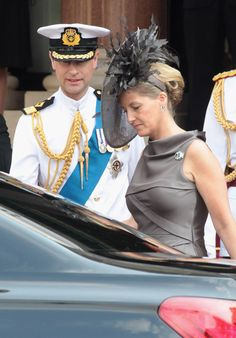 Prince Edward, Earl of Wessex and Sophie, Countess of Wessex is seen leaving the Hotol de Paris to attend the religious ceremony of the Royal Wedding of Prince Albert II of Monaco to Charlene Wittstock in the main courtyard at on July 2, 2011 in Monaco, Monaco.