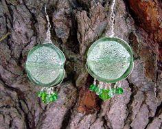 Green Moon  Peridot Lampwork Bead and Swarovski by AGreenWoods