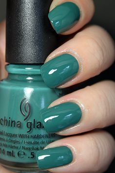 OMG! Polish 'em!: China Glaze On Safari swatches.  Exotic Encounters, dark teal.