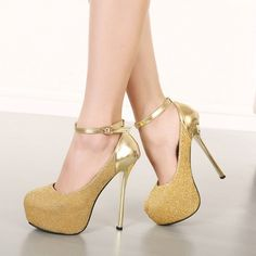 USD17.49Cheap Fashion Round Closed Toe Patchwork Buckle Design Stiletto Super High Heel Gold PU Ankle Strap Pumps