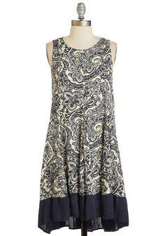 Taken With Texture Dress in Paisley - Short, Multi, Blue, Tan / Cream, Paisley, Pleats, Casual, Boho, Festival, Shift, Sleeveless, Summer