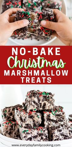 Simple no-bake Christmas treats with marshmallows. Crush up some Oreos for this festive dessert. It's ooey, gooey, chocolately, and even includes peppermint! The kids are going to love this one! #nobake #christmasdesserts #dessertbars Best Christmas Desserts, Easy Christmas Cookie Recipes, Christmas Treats, Holiday Recipes, Holiday Foods, Christmas Cookies, Holiday Ideas, Hanukkah Food, Hanukkah Recipes