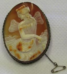 Antique Victorian Silver Carved Shell Cameo Brooch Psyche