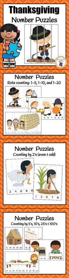 Your kindergartners and first graders will love working with these number puzzles in the math center during your Thanksgiving unit! (holiday crafts for graders) Fall Preschool Activities, Homeschool Kindergarten, Preschool Math, Holiday Activities, Learning Activities, Holiday Crafts, Thanksgiving Preschool, Thanksgiving Ideas, Number Puzzles