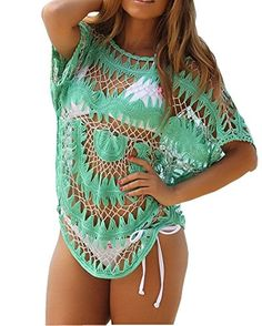 Womens Sexy Green Manual Hook Flower Zig-zag Pattern Bikini Swimwear Cover-up (Green). Occasion:Summer, Beach. Style:Casual, Cute, Sexy. Item Type:Cover up. Beach cover-ups are holiday must haves for ladies. 2015 Adogirl Trendy fashion style!.