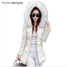 TYJTJY Vestidos Winter Jacket Women 2017 Winter Coat Women fur collar hooded warm winter coat & Parkas
