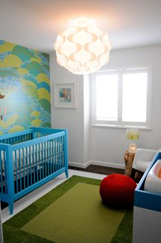 Walk in the Park-themed Nursery - we love the pop of Bahama Blue from the Devon crib from @Stacey McKenzie Craven Cottages! #nursery