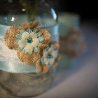 The Barn at Evergreen Wedding Custom Handmade Flowers on Jars