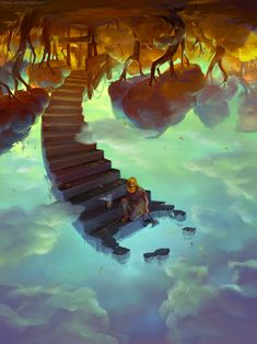 down to the clouds and collect sky from a well by Tiesei on deviantART