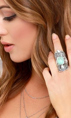Witchy Woman Silver and Turquoise Ring