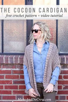 """You'd never guess by looking at this free crochet sweater pattern that it's made from two simple rectangles! The """"Cocoon Cardigan"""" free crochet pattern is great for beginners who are looking to expand their skills or advanced crocheters who want a quick, stylish project. Made with Lion Brand Lion's Pride Woolspun yarn in """"Taupe."""""""