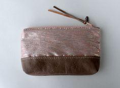 OOAK Zipper pouch, clutch, peach silk and leather. $25.00, via Etsy.