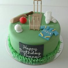 Cricket Theme Cake (Pineapple flavor) kg) - CakeStudio 18th Birthday Cake For Guys, Cricket Birthday Cake, Cricket Theme Cake, Music Birthday Cakes, Hubby Birthday, Birthday Ideas, Fondant Cakes, Cupcake Cakes, Themed Cupcakes