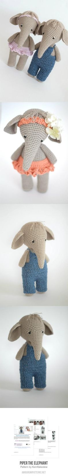 Piper the elephant amigurumi pattern Amigurumi Doll, Amigurumi Patterns, Knitting Patterns, Sewing Patterns, Crochet Patterns, Crochet Ideas, Easy Crochet, Crochet Toys, Free Crochet