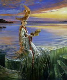 'Lady of the Hurricane' (date not specified) by Michael Cheval. Materials and dimensions not specified. Limited edition prints (100) available at artist site. Contemporary artist. // Notes: This portrait is in the Random Magic Tour collection rather than under Fantasy and Surrealism, because of the visual personification of the ocean; she's cast as a living, feeling entity in the novel 'Random Magic' (by Sasha Soren), as well. This artist seems to know that Other Place…