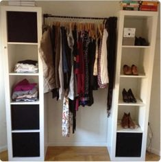 - Wardrobe Organization - Ikea Hack : La gamme KALLAX Today I wanted to make you discover the Ikea Hack. But what is this thing? This involves taking an Ikea furniture (so cheap at the base) and . Wardrobe Closet, Closet Bedroom, Closet Space, Diy Bedroom, Small Wardrobe, Closet Clothing, Ikea Closet, Laundry Closet, Decorating Rooms