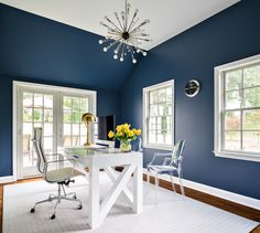Navy Office Ideas, Contemporary, Den/library/office, Benjamin Moore Van Deusen Blue, Clean Design Partners