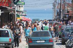 Busy street in Vama Veche (Black Sea)