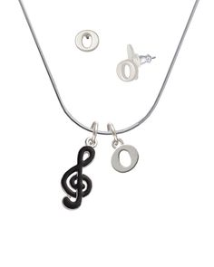Silvertone Black Clef - O Initial Charm Necklace and Stud Earrings Jewelry Set -- Read more reviews of the product by visiting the link on the image. (This is an affiliate link) #WomensJewelry