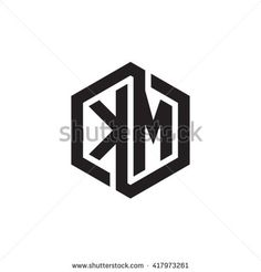 KM initial letters looping linked hexagon monogram logo