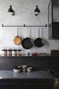 A Rugged, Rustic NYC Loft by Matt Bear of Union Studio Union-Studio-New-York-Loft-kitchen-details-Re Loft Kitchen, Kitchen Tiles, Kitchen Interior, New Kitchen, Kitchen Dining, Kitchen Decor, Rustic Kitchen, Kitchen Grey, Dining Room