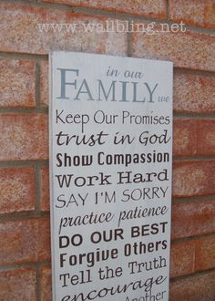 In Our Family We... Family Rules Wood Sign. $70.00