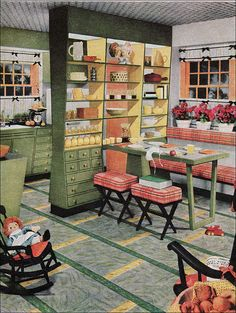 1954 Armstrong Kitchen | by American Vintage Home | Yet another ad by Armstrong shown in American Home. This kitchen is an example of the very common yellow, green, and orange (or coral) color scheme that was popular at the time.