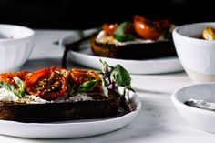 goat cheese toast with roasted tomatoes and balsamic