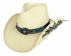 8087d4f950f Bullhide Sweet Seduction Straw Cowboy Hat ~ features a turquoise and black hat  band with stitching