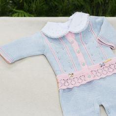 Saída de Maternidade Conjunto Barra Rendada Azul Claro